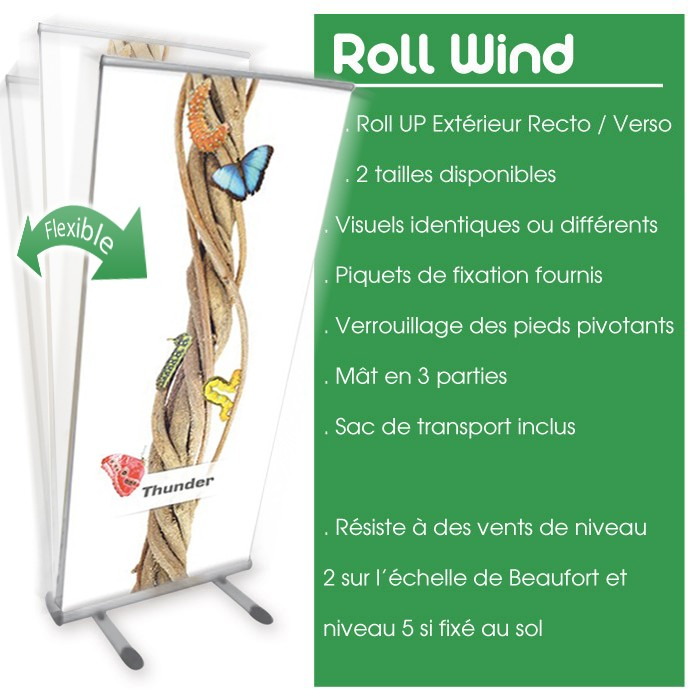 Roll Up Wind Recto Verso 85 x 200 cm